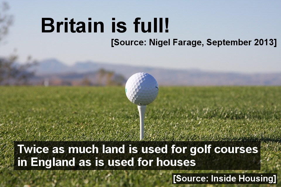 Twice as much land is used for golf courses in England as for housing. There is plenty of room for immigration