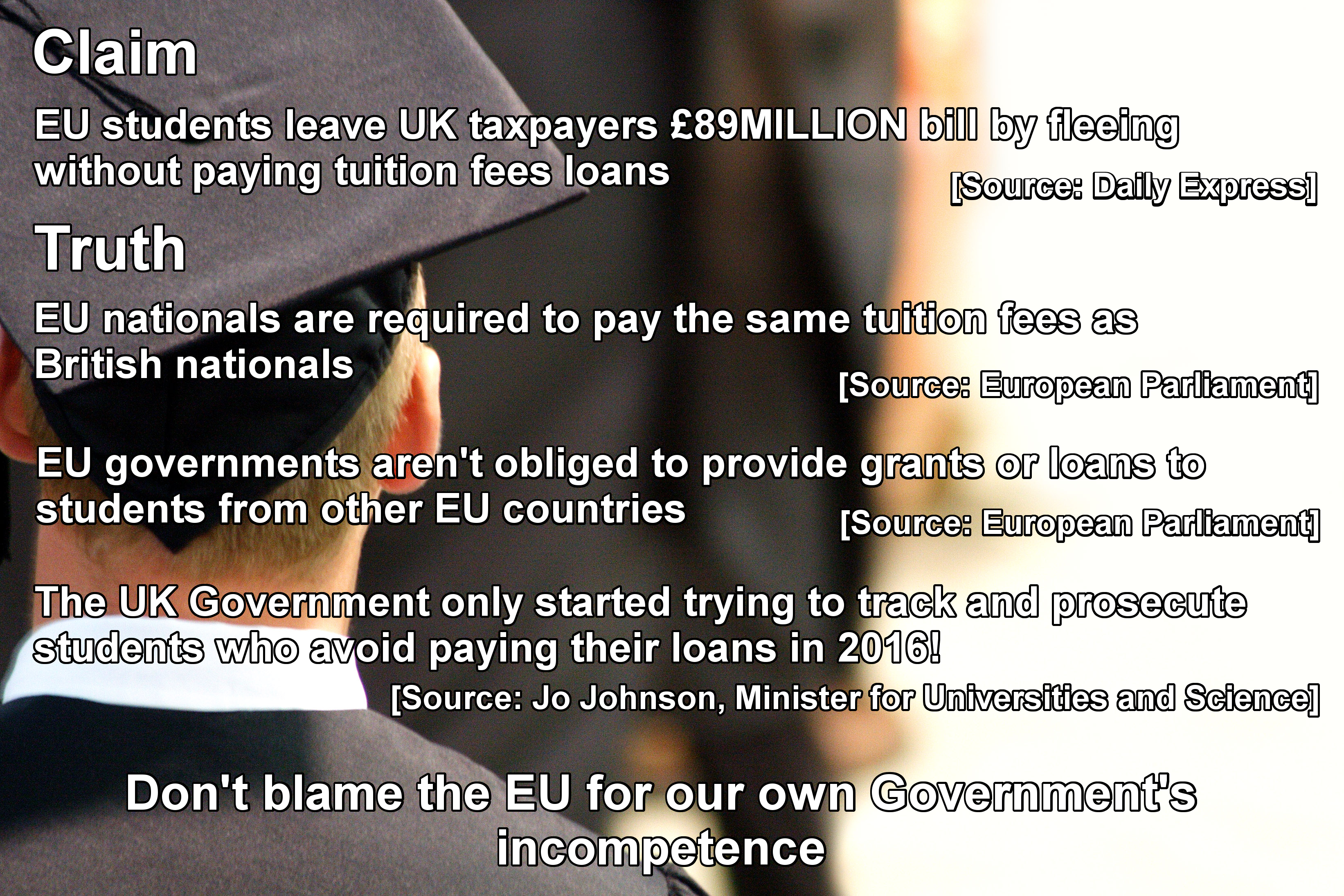 Members states are not required to give EU students grants or loans