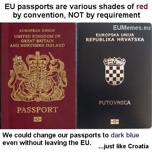 Despite what the Nationalists are claiming, there is NO EU law requiring passports to be red.